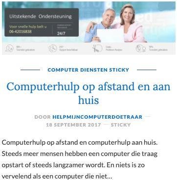sticky artikel op artikelwebsite